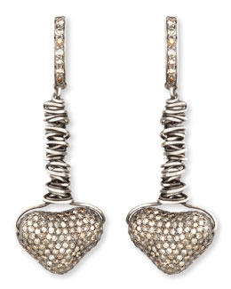 Irit Design Dangling Pave Diamond Heart Earrings