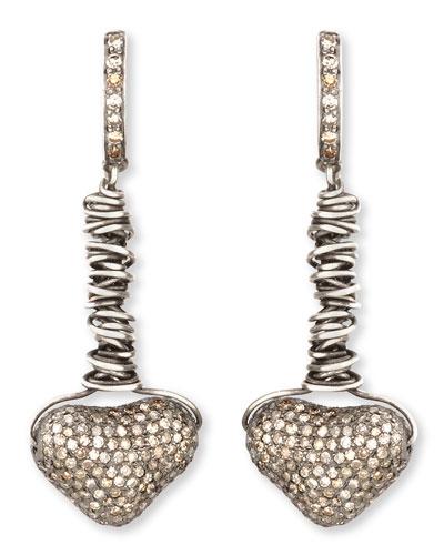 Irit Design Dangling Pave Diamond Heart Earrings