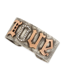 Irit Design Silver & Pink Gold Love Cuff with Pave Diamonds