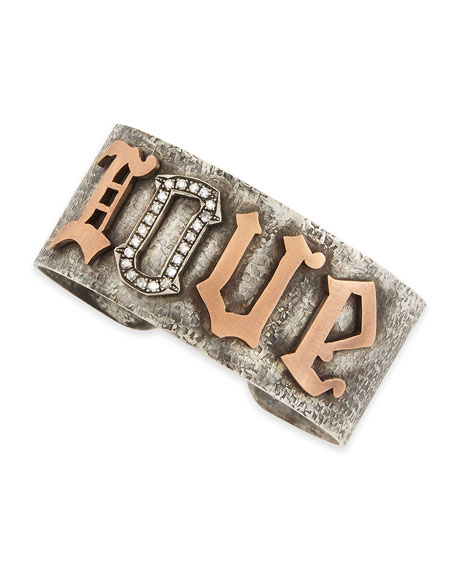 Silver & Pink Gold Love Cuff with Pave Diamonds