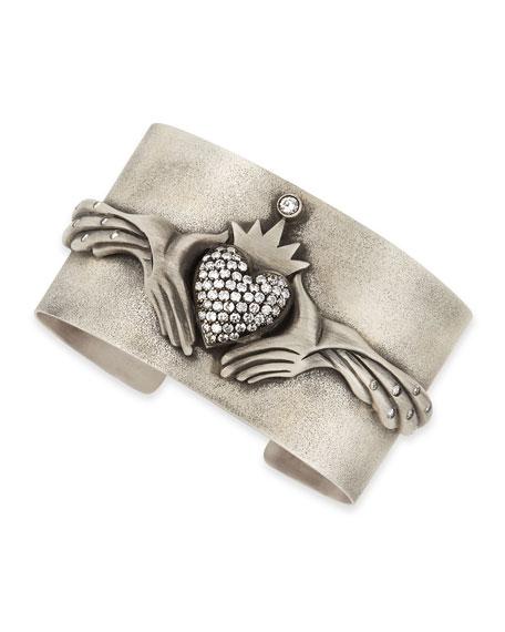 Modern Winged Claddagh Cuff with Diamonds