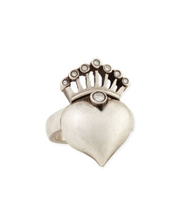 Irit Design Silver Heart & Crown Ring with Diamonds