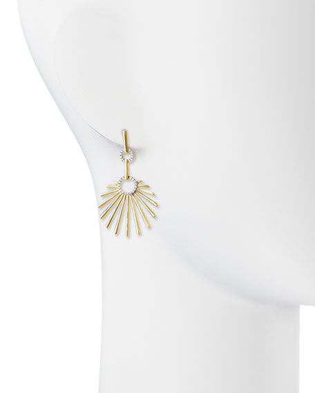 18k Yellow Gold Retro Sun Earrings with Diamonds