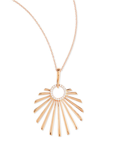 18k Pink Gold Retro Sun Pendant Necklace with Diamonds