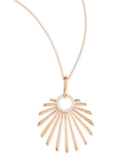 18k Pink Gold Retro Sun Pendant Necklace with Diamonds