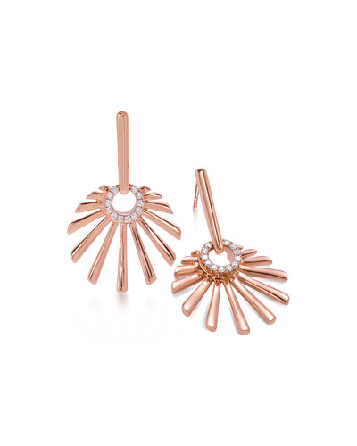 Frederic Sage 18k Pink Gold Mini Retro Sun Earrings with Diamonds