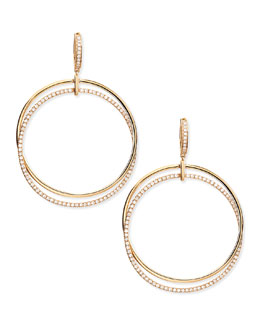 Frederic Sage 18k Pink Gold & Diamond Interlocking Hoop Earrings