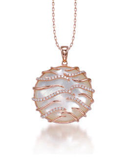 Frederic Sage Luna Small 18k Pink Gold Mother-of-Pearl Pendant Necklace