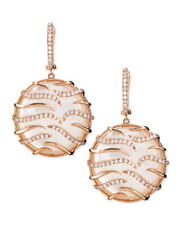 Frederic Sage Luna Small Round 18k Pink Gold Diamond Mother-of-Pearl Earrings