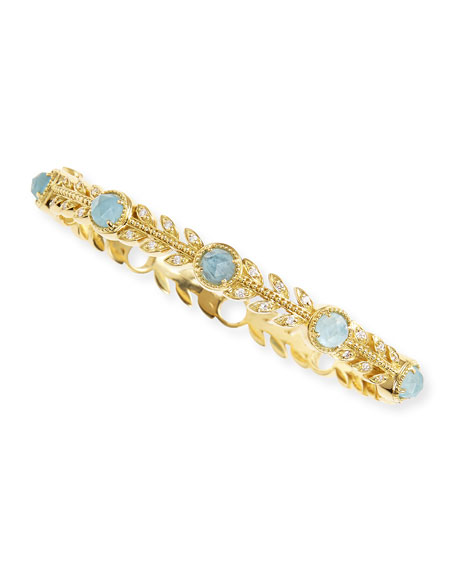 Pave Diamond & Rose-Cut Aquamarine Leaf Bangle