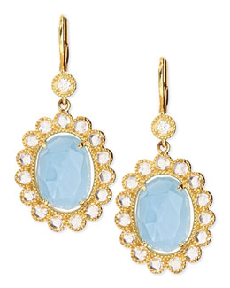 Penny Preville Oval Rose-Cut Aquamarine & Rose-Cut Diamond Scalloped Earrings on French Wire