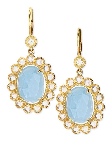 Oval Rose-Cut Aquamarine & Rose-Cut Diamond Scalloped Earrings on French Wire
