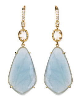 Penny Preville Oval Moonstone & Organic Aquamarine Earrings with Prong Diamonds