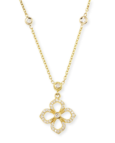 "Small Diamond Flower Petal Pendant Necklace, 16"""