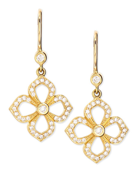 Small Flower Petal Pave Diamond Earrings on French Wire