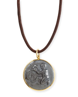 Syna Hematite Aquarius Zodiac Pendant Necklace on Leather Cord