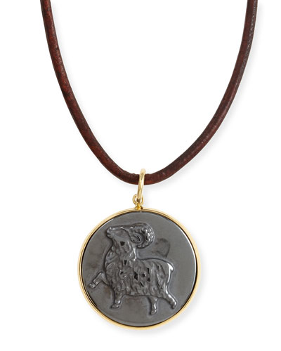 Syna Hematite Aries Zodiac Pendant Necklace on Leather Cord