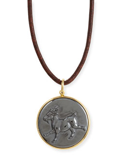 Syna Hematite Capricorn Zodiac Pendant Necklace on Leather Cord
