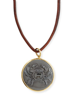 Syna Hematite Cancer Zodiac Pendant Necklace on Leather Cord