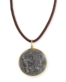 Syna Hematite Leo Zodiac Pendant Necklace on Leather Cord
