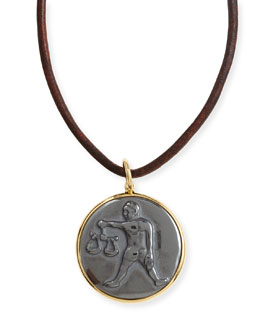Syna Hematite Libra Zodiac Pendant Necklace on Leather Cord