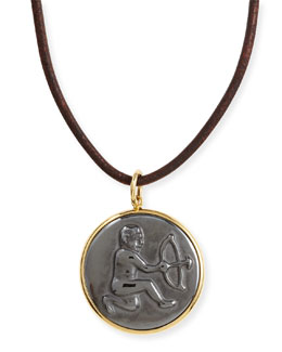 Syna Hematite Sagittarius Zodiac Pendant Necklace on Leather Cord