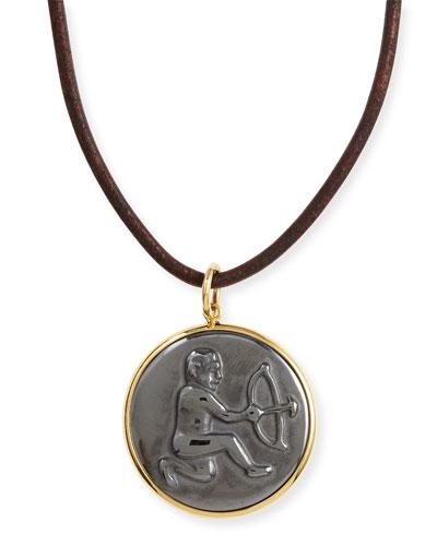 Syna Hematite Sagittarius Zodiac Pendant Necklace on Leather Cord