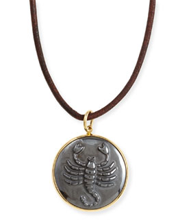 Syna Hematite Scorpio Zodiac Pendant Necklace on Leather Cord