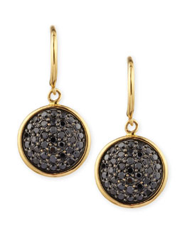 Syna 18k Gold 10mm Chakra Black Diamond Earrings