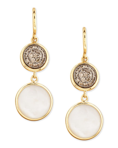 Chakra 18k Gold Diamond & Mother-of-Pearl Earrings