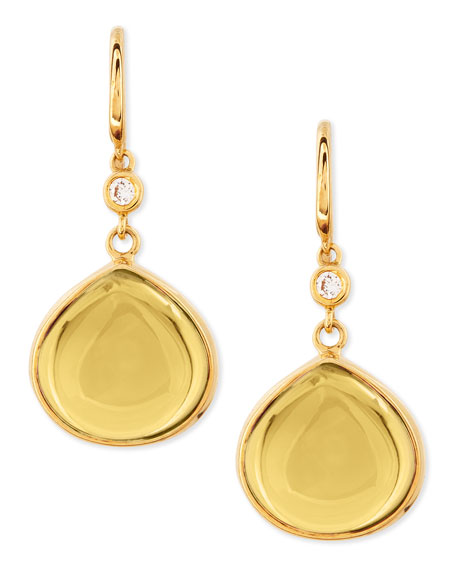 Mogul 18k Gold Citrine Earrings with Diamond