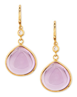 Syna Mogul 18k Gold Amethyst Earrings with Diamond