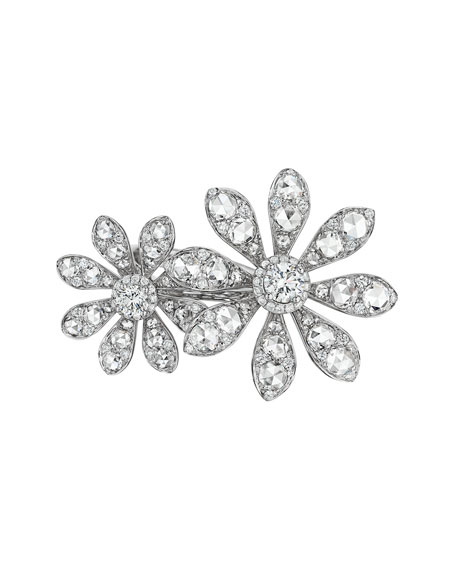 Aster Collection 18k White Gold Diamond Double-Flower Ring