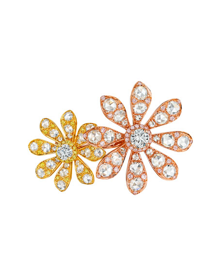 Aster Collection 18k Rose & Yellow Gold Diamond Double-Flower Ring