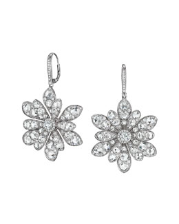 Maria Canale for Forevermark 18k White Gold Round and Rose-Cut Diamond Flower Drop Earrings
