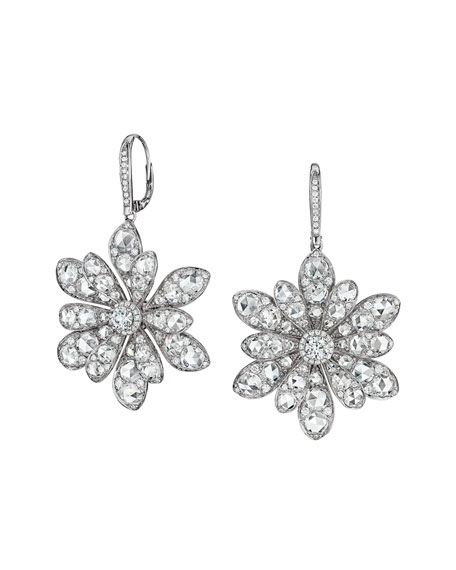 18k White Gold Round And Rose Cut Diamond Flower Drop Earrings