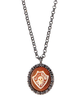AMEDEO Skull Shield Carnelian Necklace with Diamonds