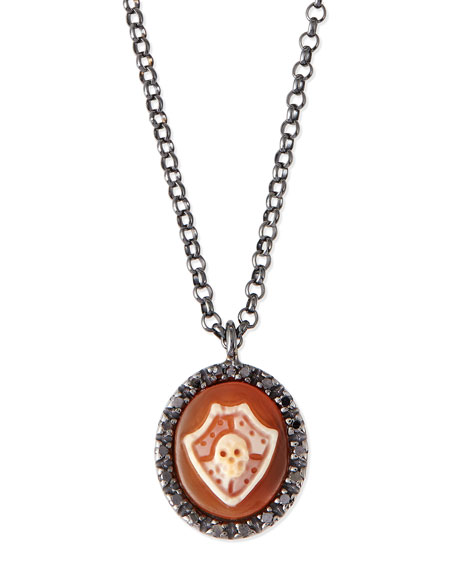 AMEDEO Skull Shield Carnelian Necklace with Diamonds
