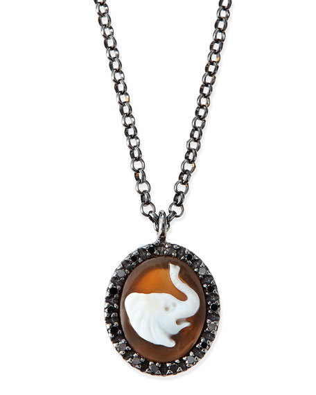 AMEDEO Hand-Carved Elephant Cameo Necklace