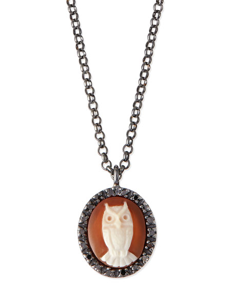 AMEDEO Owl Carnelian Necklace with Diamonds