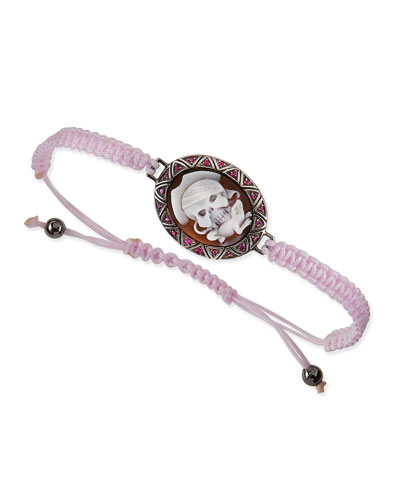 AMEDEO Pirate Skull & Lizard Cameo Pink Braided Bracelet