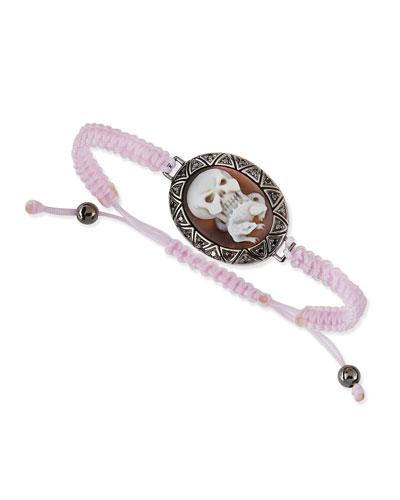 AMEDEO Skull & Lizard Cameo Pink Braided Bracelet