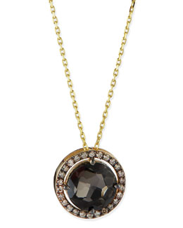 Suzanne Kalan 14k Yellow Gold Necklace with Black Night Quartz & Champagne Diamonds
