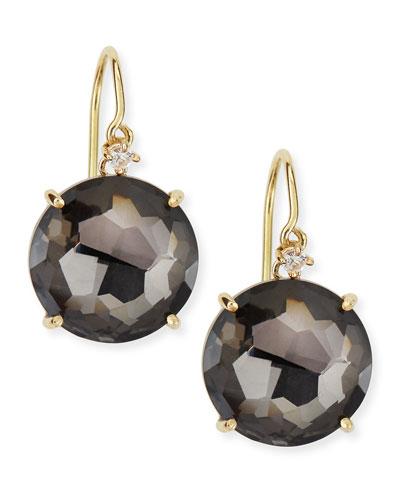 Suzanne Kalan 14k Yellow Gold Round Black Night Quartz Drop Earrings