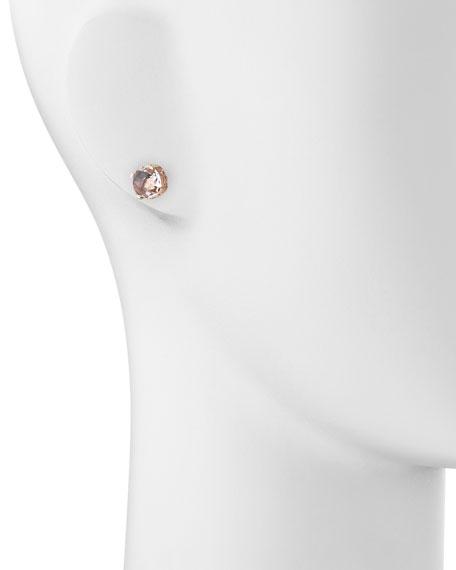 14k Rose Gold White Topaz Cushion Stud Earrings
