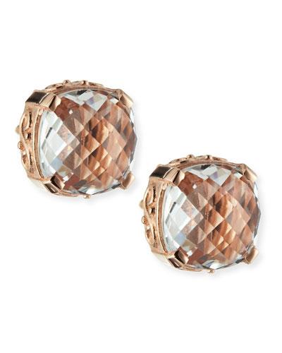 Suzanne Kalan 14k Rose Gold White Topaz Cushion Stud Earrings