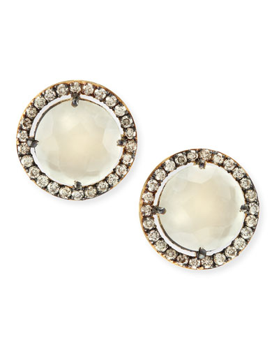 Suzanne Kalan 14k Yellow Gold White Moonstone & Champagne Diamond Stud Earrings