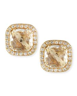Suzanne Kalan 14k Yellow Gold White Topaz Cushion & Sapphire Stud Earrings