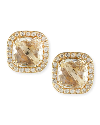 Suzanne Kalan 14k Yellow Gold White Topaz Cushion & Sapphire Stud Earrings