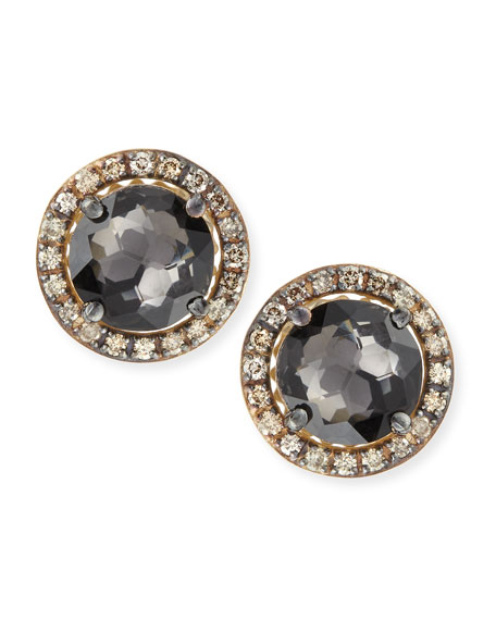 14k Yellow Gold Black Night Quartz & Champagne Diamond Stud Earrings